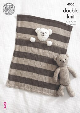 Baby Blankets and Teddy Bear Toy in King Cole DK - 4005