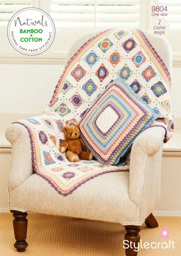 Blanket and Cushion in Stylecraft Naturals Bamboo & Cotton DK- 9804 - Downloadable PDF