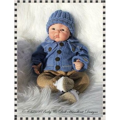 "Denim Jacket & Chinos Outfit 16-22"" dolls/NB/0-3m baby"