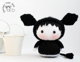 Black Angus Cow Doll named Lexi. Toy from the Tanoshi series.