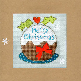 Bothy Threads Snowy Pudding Christmas Card Cross Stitch Kit - 10cm x 10cm