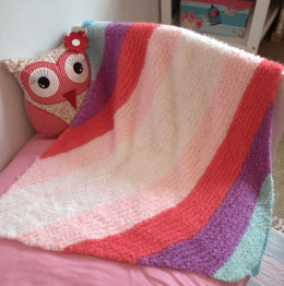 Diagonal Striped Blanket in Robin Fleece Chunky - Downloadable PDF