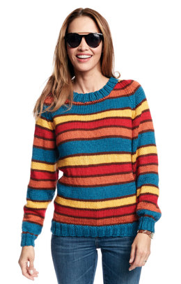 Adult's Knit Crew Neck Striped Pullover in Caron Simply Soft - Downloadable PDF