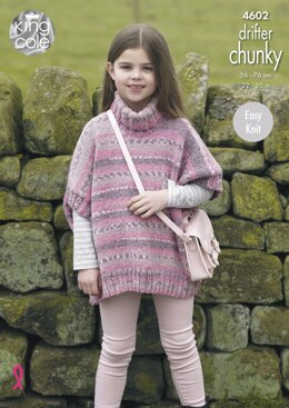 Girls Ponchos in King Cole Drifter Chunky - 4602