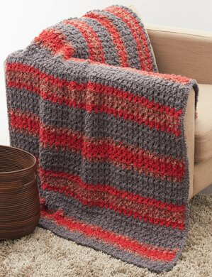 Striped Crochet Afghan in Bernat Soft Boucle | Knitting Patterns