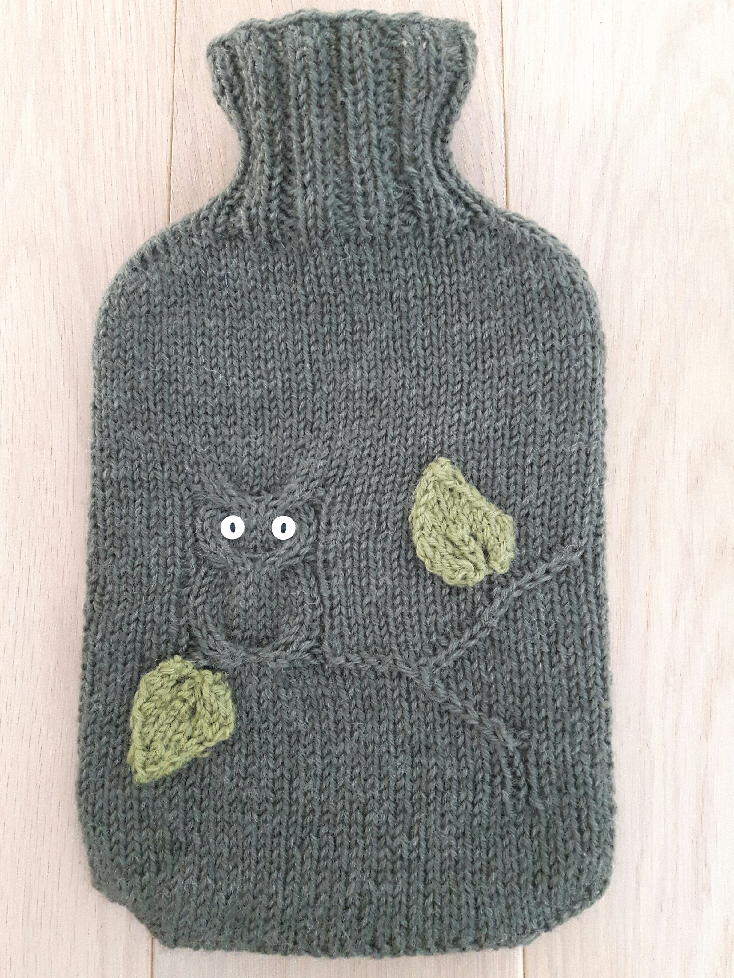 Owl Hot Water Bottle Cover Knitting Pattern : Night Owl Hot Water Bottle Cover knitting project by Katie H LoveCrochet