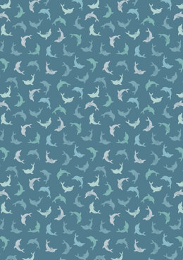Lewis & Irene Spindrift Twirling Dolphins on Dark Blue Cut to Length