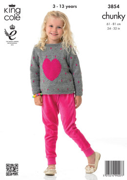 Girls' Sweaters in King Cole Big Value Chunky - 3854