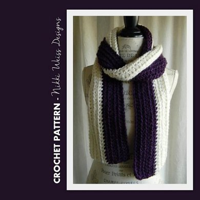 Two Color Charisma Scarf Crochet Pattern By Mymountainstudio
