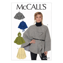 McCall's Misses' Hooded, Collared or Collarless Capes M7477 - Sewing Pattern