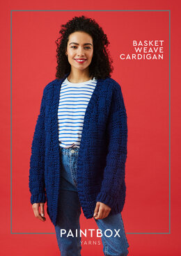 """Basket Weave Cardigan"" - Free Cardigan Knitting Pattern For Women in Paintbox Yarns Simply Super Chunky"