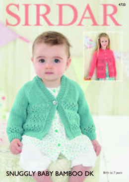 Round Neck and V Neck Cardigans in Sirdar Snuggly Baby Bamboo DK - 4733 - Downloadable PDF