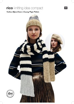 Hat, Beret and Scarf in Rico Fashion Alpaca Dream and Luxury Magic Mohair - 675