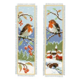 Vervaco Robins Cross Stitch Bookmarks Kit (Set of 2) - 6cm x 20cm