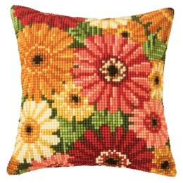 Vervaco Gerbera Cushion Front Chunky Cross Stitch Kit - 40 x 40cm