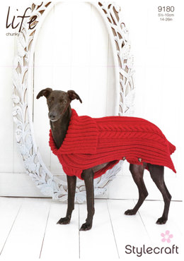 Cabled Dog Coat in Stylecraft Life Chunky - 9180