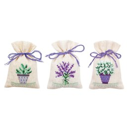 Vervaco Pot-Pourri Bags - Provence Lavender Cross Stitch Kit (3 pcs) - 8cm x 12cm