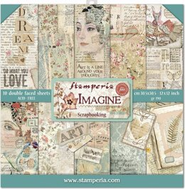 """Stamperia Intl Stamperia Double-Sided Paper Pad 12""""X12"""" 10/Pkg - Imagine, 10 Designs/1 Each"""