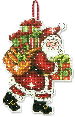 Dimensions Santa with Bag Ornament Cross Stitch Kit - 8.5cm x 11.5cm