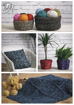 Storage Baskets, Cushion Cover, Plant Pot Covers & Rug in King Cole Raffia - 4341 - Downloadable PDF