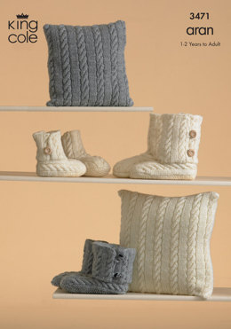 Knitted Slippers and Cushions in King Cole Fashion Aran - 3471