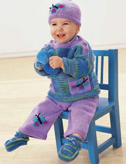Butterflies Are Free Booties, Pullover, Pant and Hat in Patons Astra