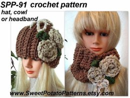 Tawny Hat, Cowl or Headband | Crochet Pattern by SweetPotatoPatterns