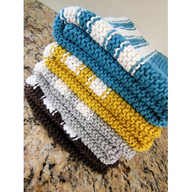 Garter Stitch Striped Dish Towel Knitting Pattern By Diana Poirier