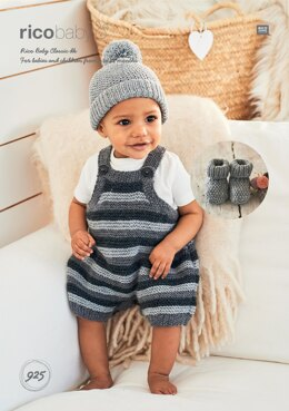 Romper, Hat and Booties in Rico Baby Classic DK - 925 - Downloadable PDF
