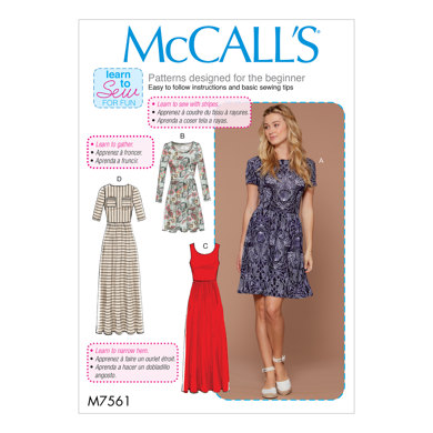 McCall's Misses' Pullover, Gathered-Waist Knit Dresses with Sleeve and Hem Options M7561 - Sewing Pattern