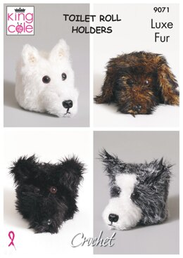 Crochet Dog Toilet Roll Covers in King Cole Luxe Fur - 9071 - Downloadable PDF