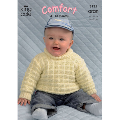 Coat, Cardigan, Sweater and Hat in King Cole Comfort Aran - 3135
