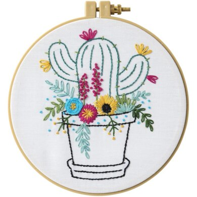 Bucilla Stamped Embroidery Kit - Cactus Bloom