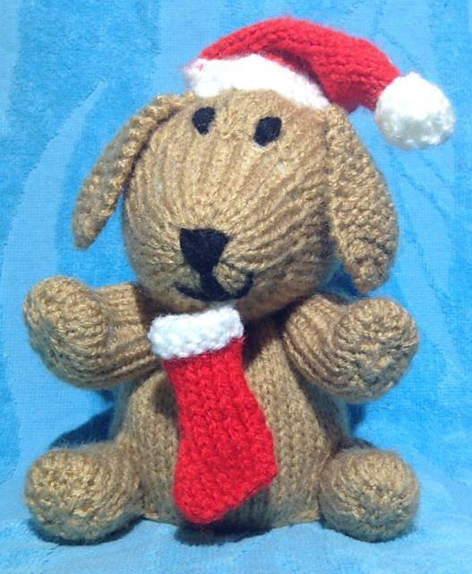 KNITTING PATTERN Toffee the Christmas Puppy Dog  orange cover or 17 cms toy