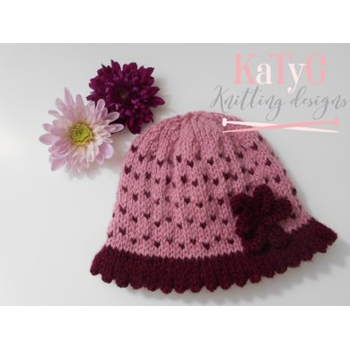 Berry Pink baby girl's hat Knitting pattern by KaTy G Knitting Designs