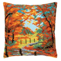 Vervaco Autumn Landscape Cross Stitch Cushion Kit - 40cm x 40cm