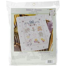 Bucilla Stamped Crib Cover Cross Stitch Kit 34in x 43in - Babies Are Precious