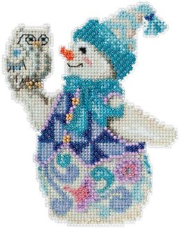 Mill Hill Snowy Owl Snowman Cross Stitch Kit - 9.5cm x 12.5cm