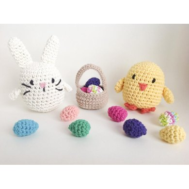 Crochet Easter Stuffed Animal Pattern With Bunny Rabbit Chick