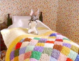 1:12th scale Childs bedding and rabbit toy