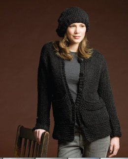 Cardigan With Stitch Detail & Beret in Tahki Yarns Donegal Tweed