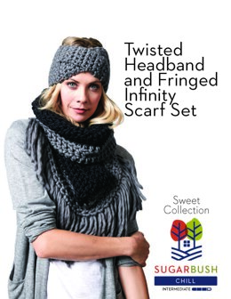 Twisted Headband and Fringed Infinity Scarf Set in Sugar Bush Yarns Chill - 658543 - Downloadable PDF
