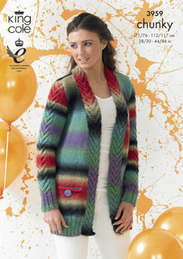 Cardigan and Waistcoat in King Cole Riot Chunky - 3959
