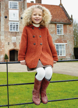 """""""Double Breasted Coat"""" - Coat Knitting Pattern For Girls in Debbie Bliss Blue Faced Leicester DK - BFLDK08"""