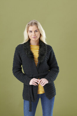 Ladies Jacket, Gilet, and Boot Toppers in King Cole Fashion Aran and Luxury Fur in King Cole - 5448