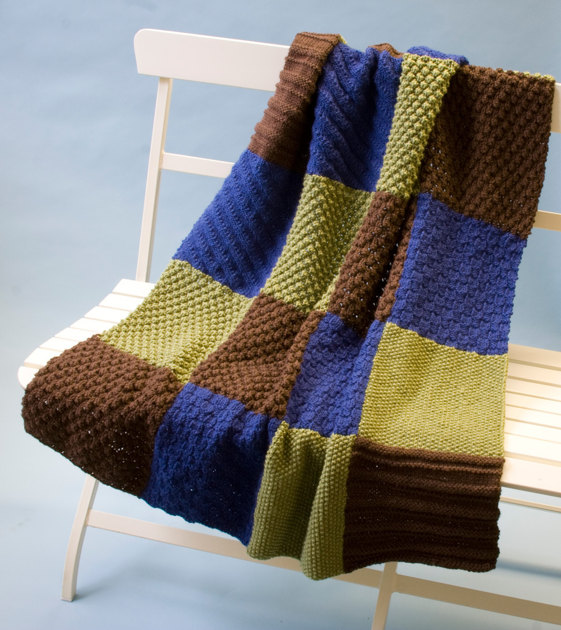 Baby Knitting Free Patterns : Knit Sampler Throw in Lion Brand Vannas Choice - L0563 Knitting Patter...