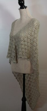 Triangular Lace Shawl with Scalloped Edging