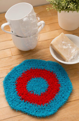 Hexagon Crochet Dishcloth in Red Heart Scrubby Solids - LW4793 - Downloadable PDF