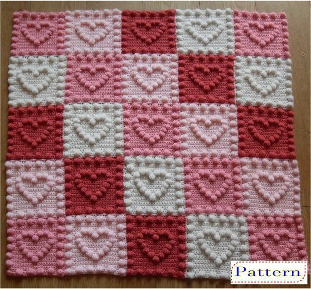Heart Motifs Baby Blanket Crochet Pattern By Peach Unicorn