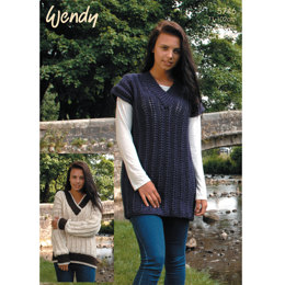 Tunic and V Neck Sweater in Wendy Mode Chunky and Merino Chunky - 5746
